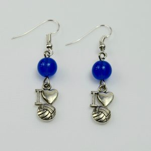 I Love Netball Earrings with Blue Bead