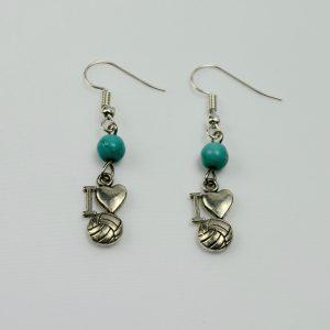 I Love Netball Earrings with Green Bead