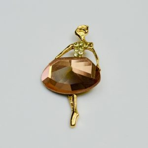 Charm Ballerina Gold Colour with Pink Stone Dress Diamond Simulant