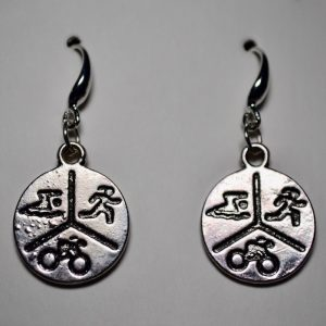 Triathlon 3 Symbol Pendant Earrings