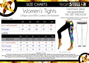 Stellar Tights Size Chart