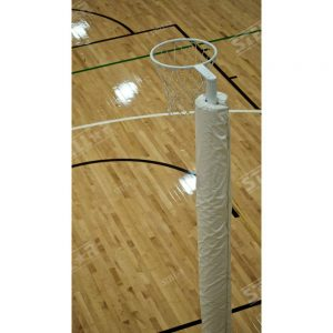 Netball Hoop Full Length White Padding Indoors Wooden Floorboards Background