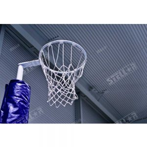 Netball Hoop Indoors above Eye Level Mesh Net Blue Padding Positioned Left