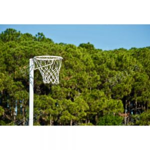Netball Hoop Positioned Left with Mesh Net Outdoor Trees Background