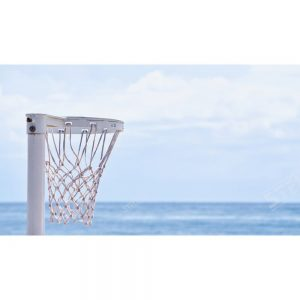 Thumbnail Netball Hoop Close Up Ocean Background positioned to the left