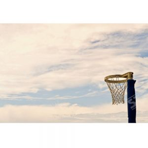 Thumbnail Netball Hoop Positioned Right Outdoors with a Sunset Sky Background